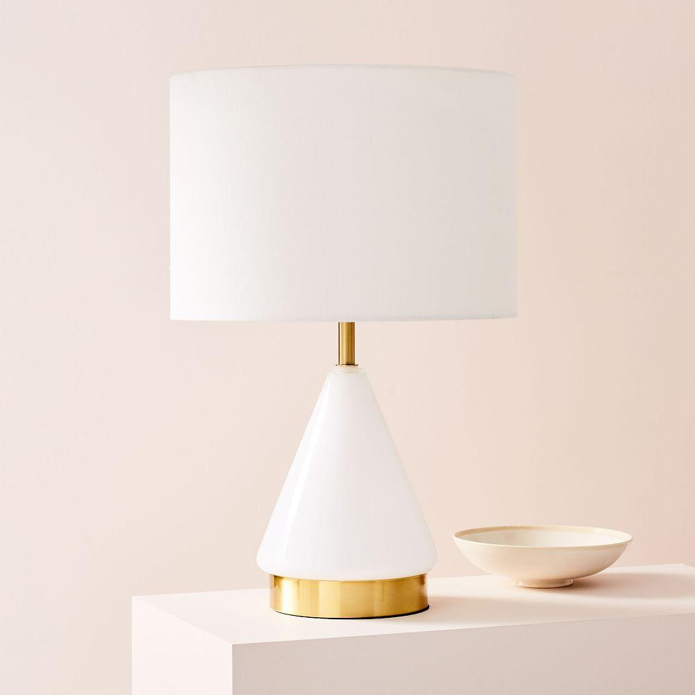 Metalised Glass Table Lamp + USB - Small (White)