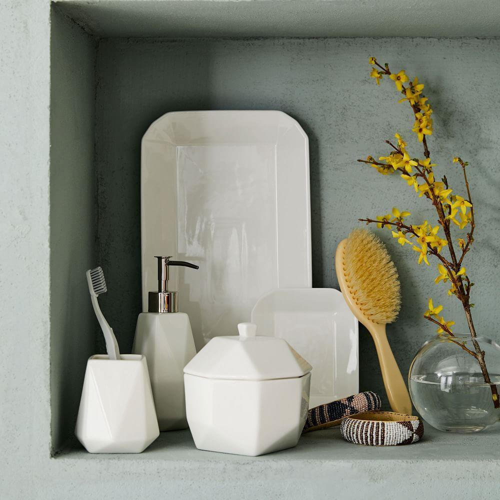 Faceted Porcelain Bathroom Accessories - White | west elm UK