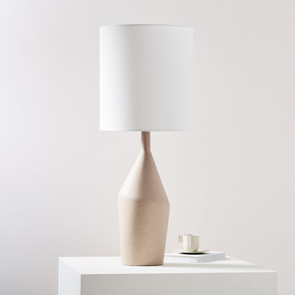 Asymmetry Ceramic Table Lamp - Large (Speckled Stone)