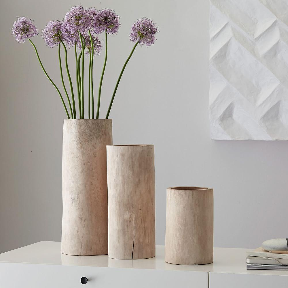 Bleached Wood Vases