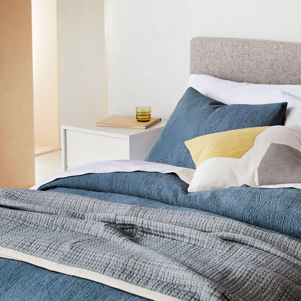 TENCEL™ Cotton Matelasse Duvet Cover + Pillowcases - Stormy Blue