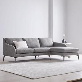 Alto 2-Piece Chaise Sectional - Granite (Twill)