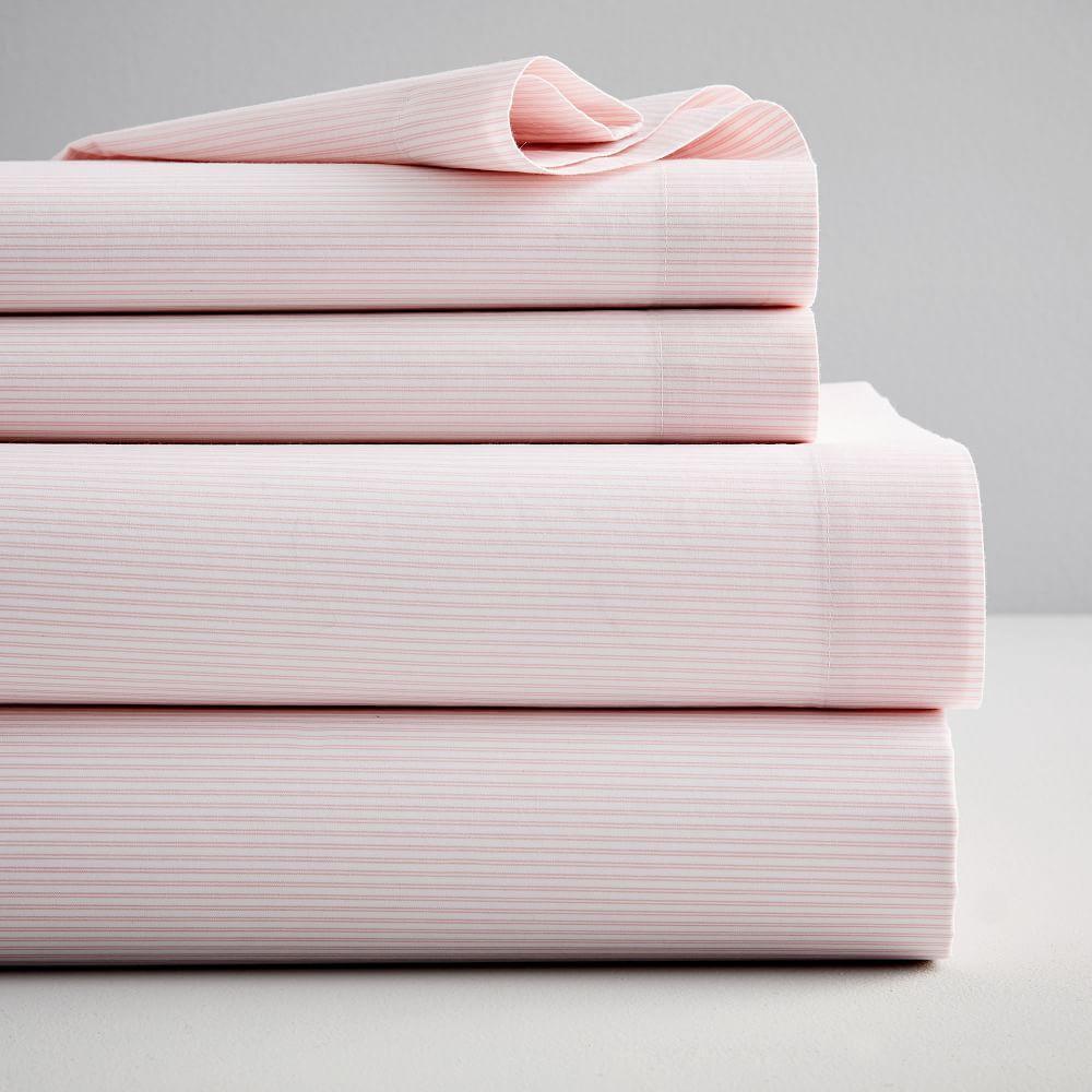 Washed Cotton Double Stripe Sheets - Vintage Rose