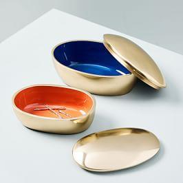 Brass Pebble Boxes
