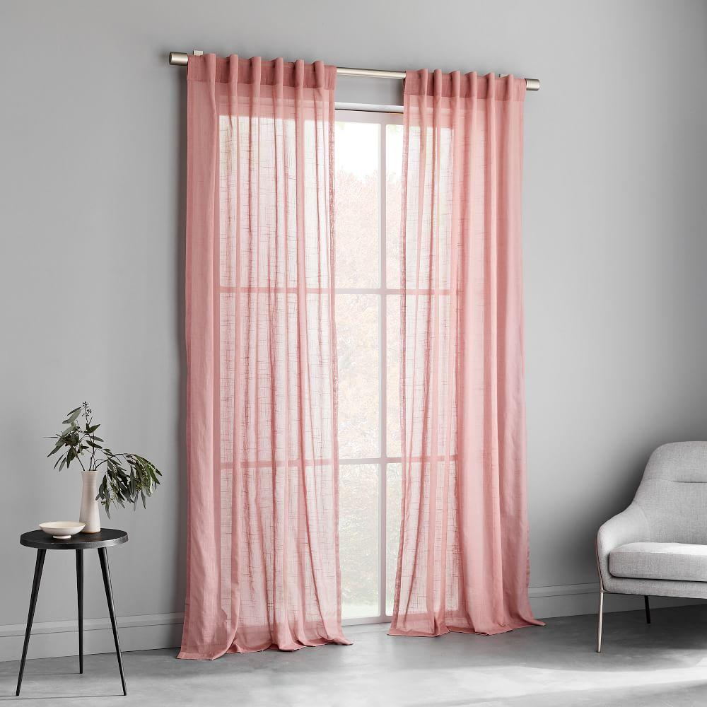 Sheer Crosshatch Curtains (Set of 2) - Pink Stone