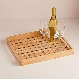Wood Cut Gingham Tray
