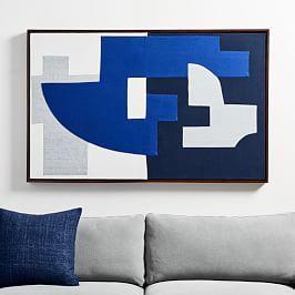 Pieced Fabric Wall Art - Blue