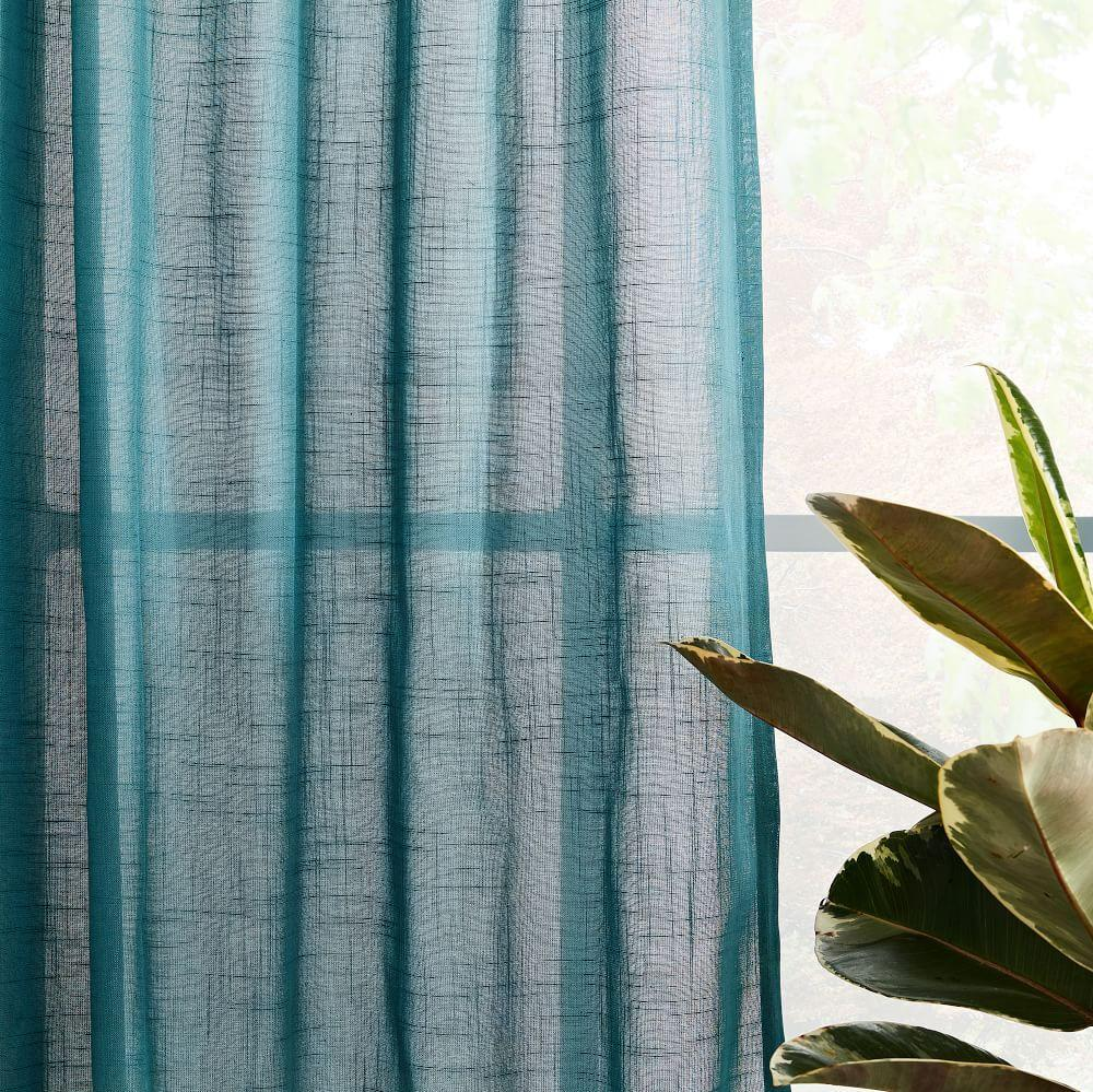 Sheer Crosshatch Curtains (Set of 2) - Mineral Blue