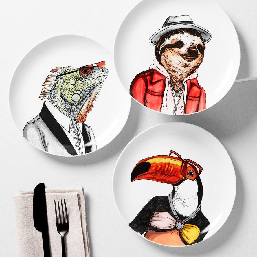 Dapper Animal Salad Plates