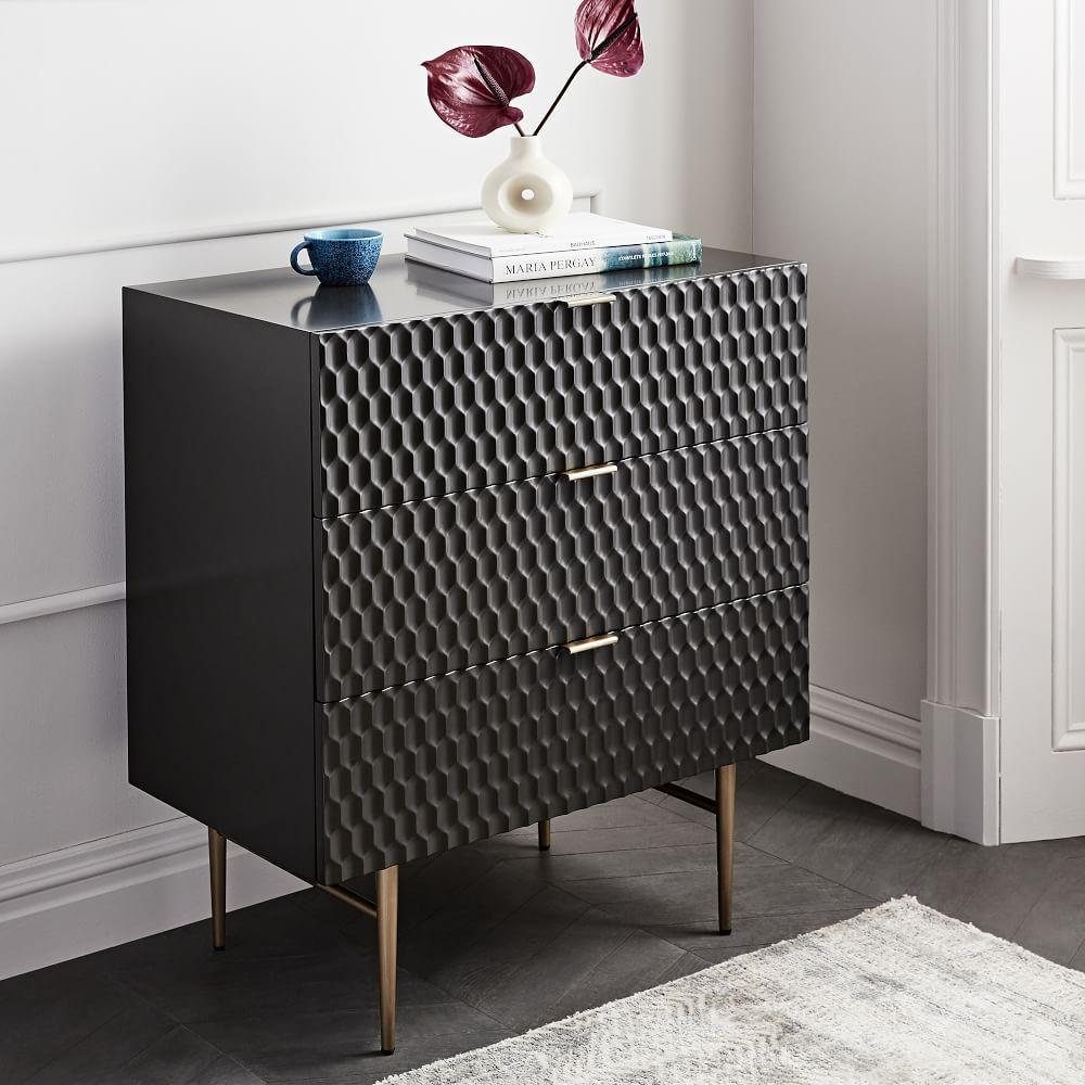Audrey 3-Drawer Chest - Charcoal