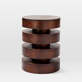 Floating Disks Side Table - Dark Walnut