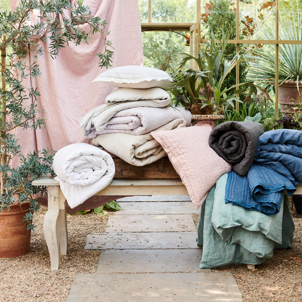 Belgian Flax Linen Fibre Dyed Duvet Cover + Pillowcases - Vintage Rose