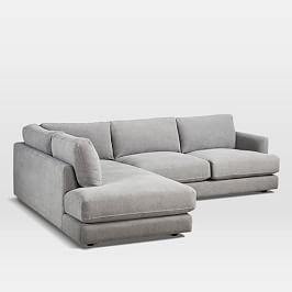 Haven 2-Piece Terminal Chaise Sectional - Grey (Performance Washed Canvas)