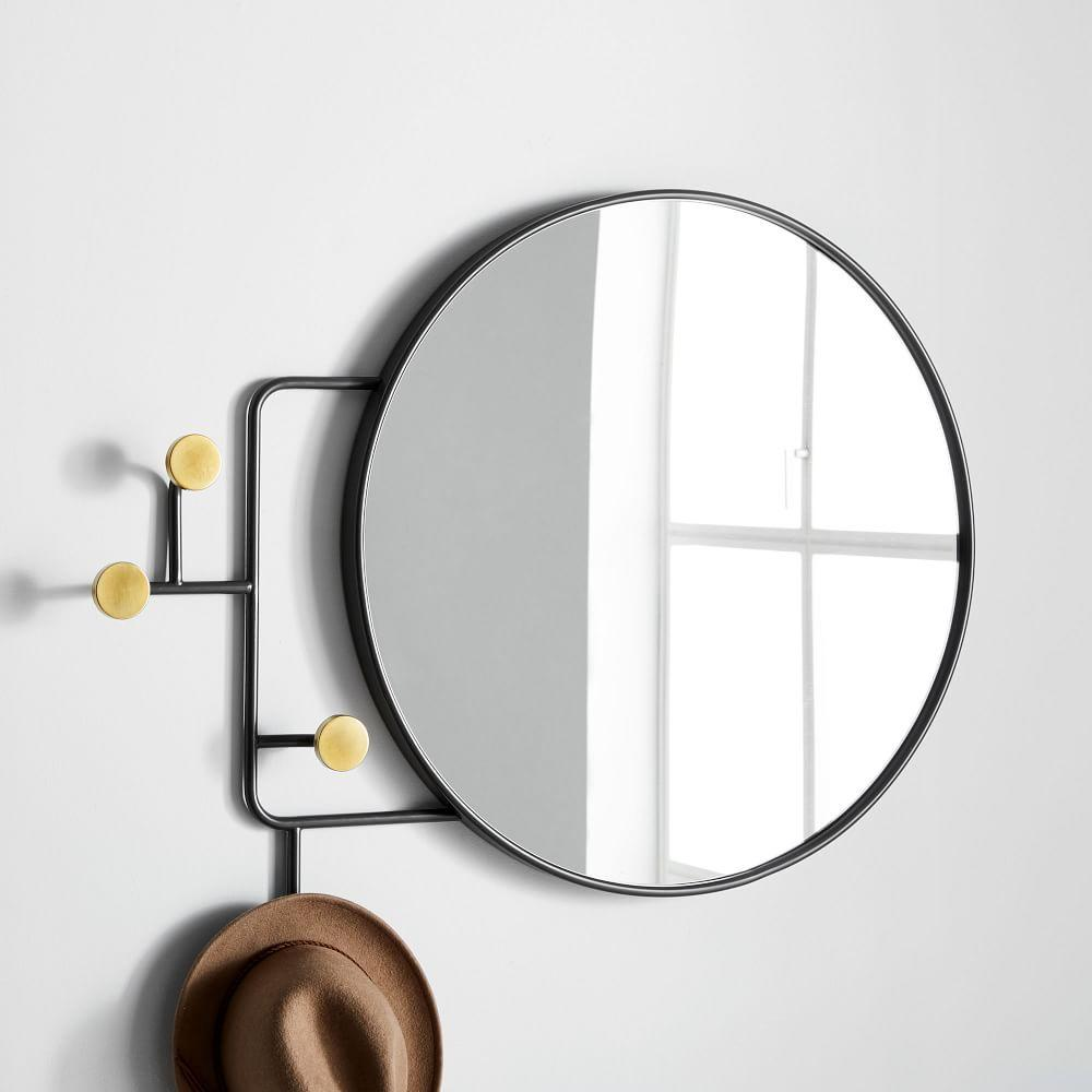 Sculptural Hook Wall Mirror - Round