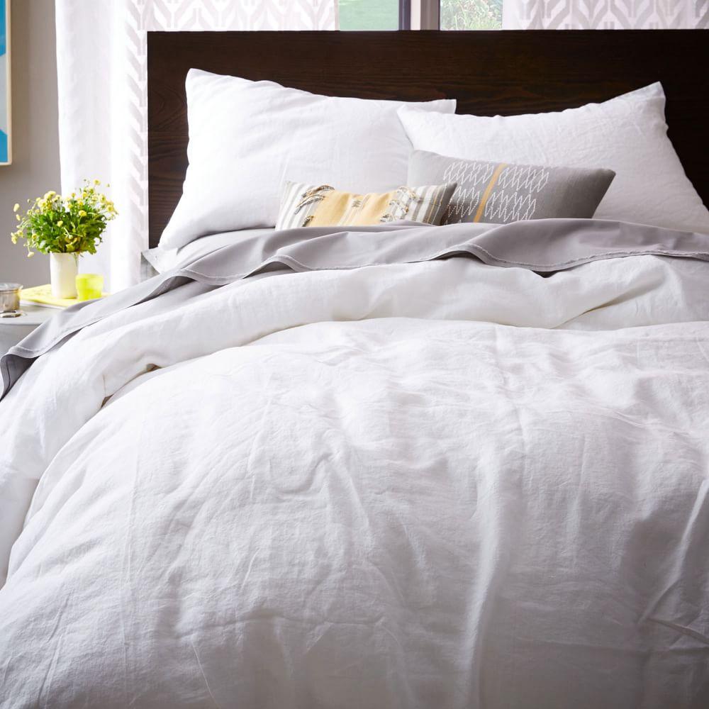 Belgian flax linen duvet cover pillowcases white