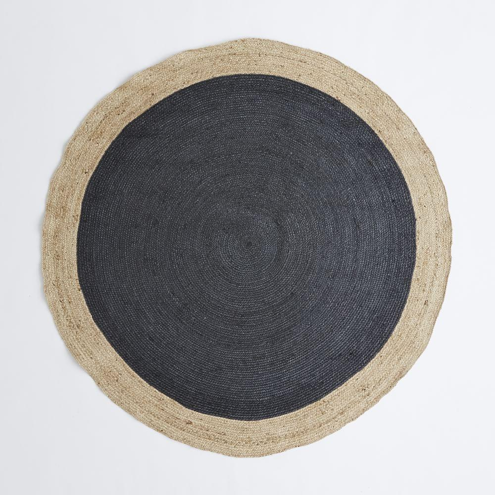 Bordered round jute rug slate west elm uk for Where to buy round rugs