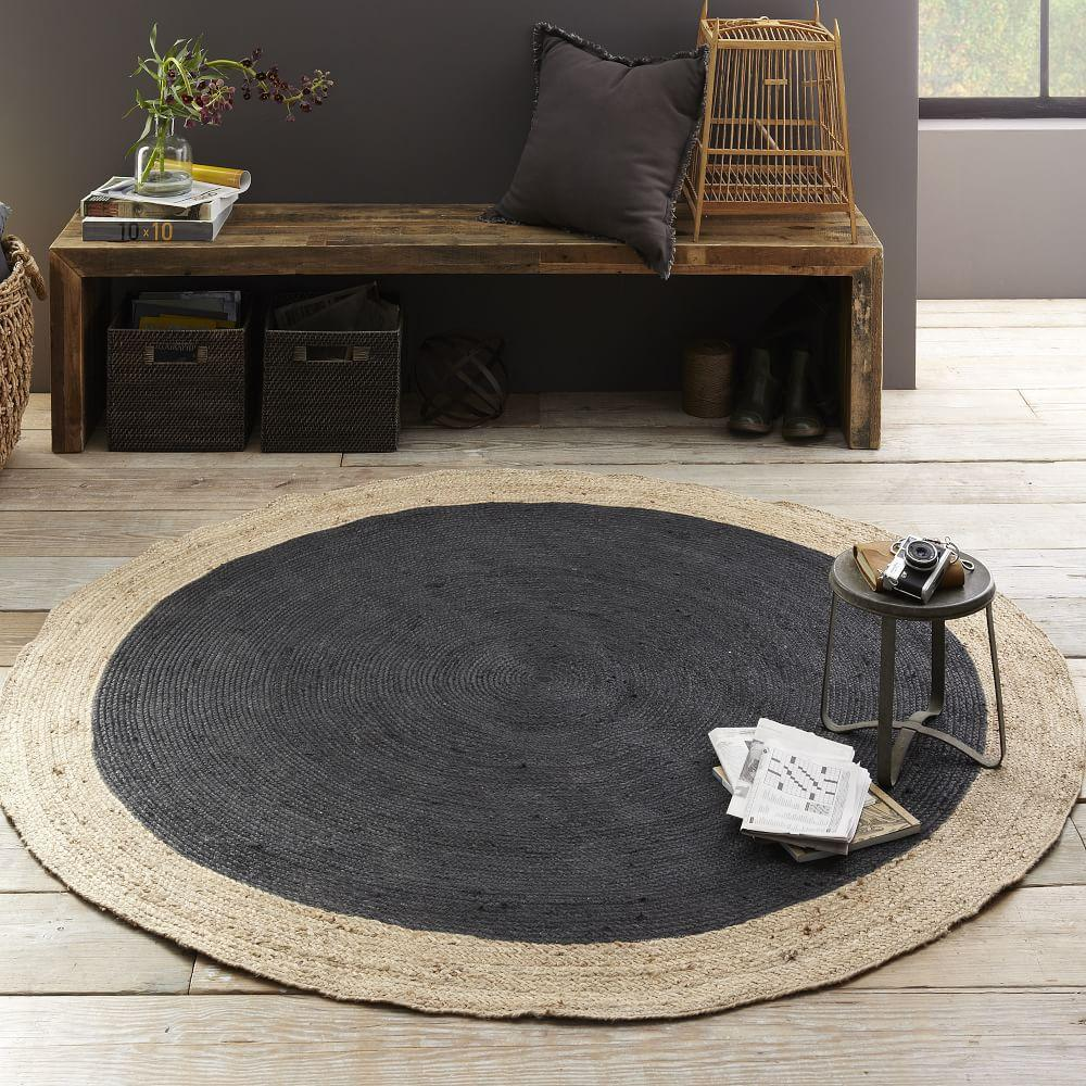 Bordered Round Jute Rug Slate West Elm UK