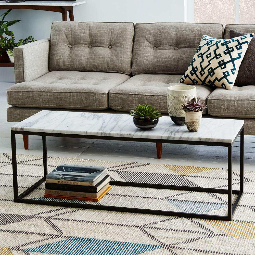 Solid Granite Top Coffee Table: Box Frame Coffee Table - Marble
