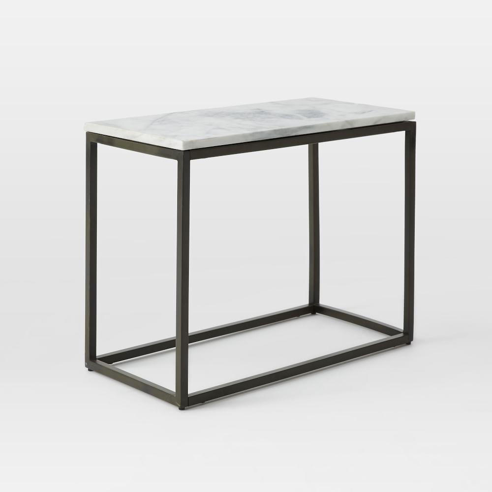 Box Frame Narrow Side Table Marble West Elm UK