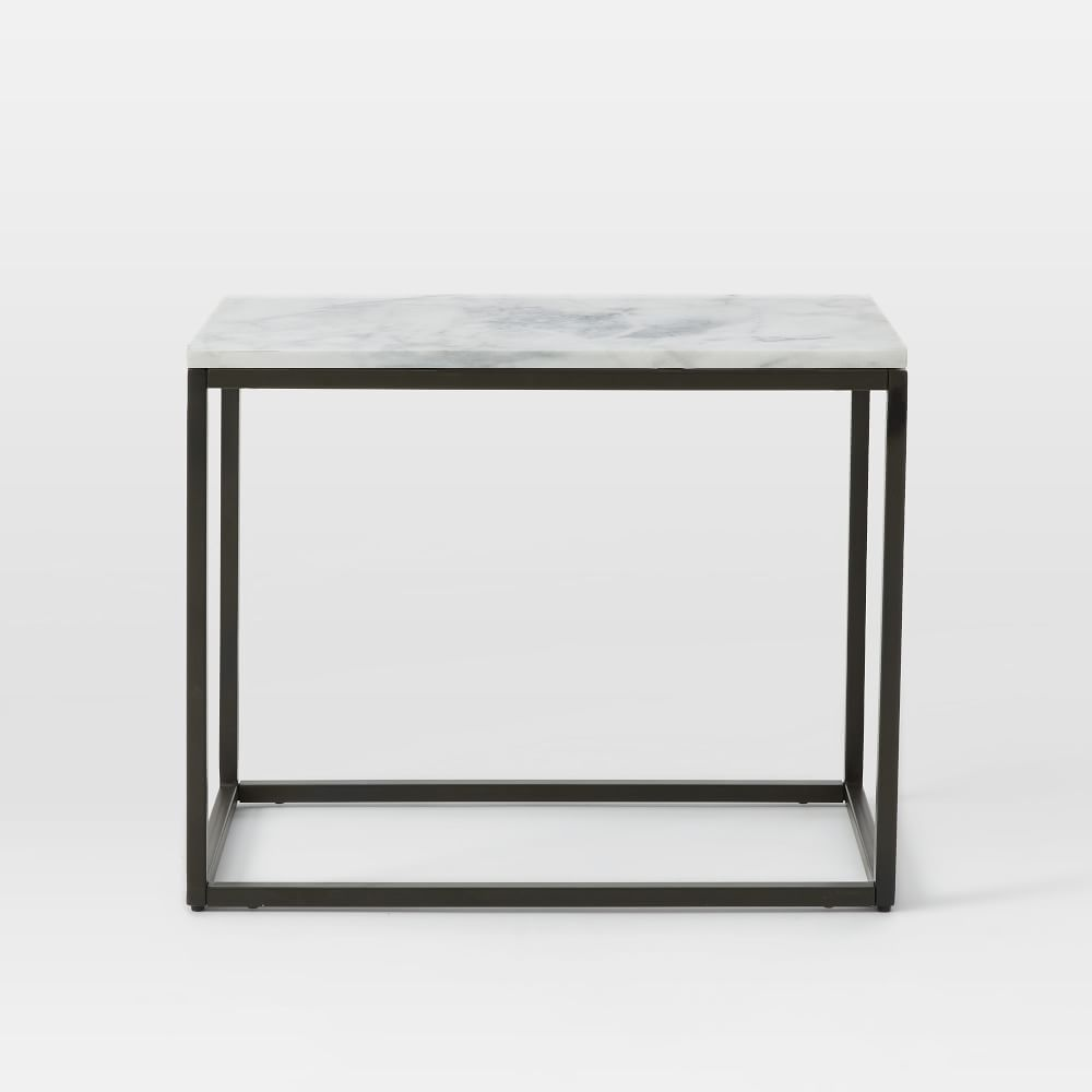 Box frame narrow side table marble west elm uk for Narrow side table