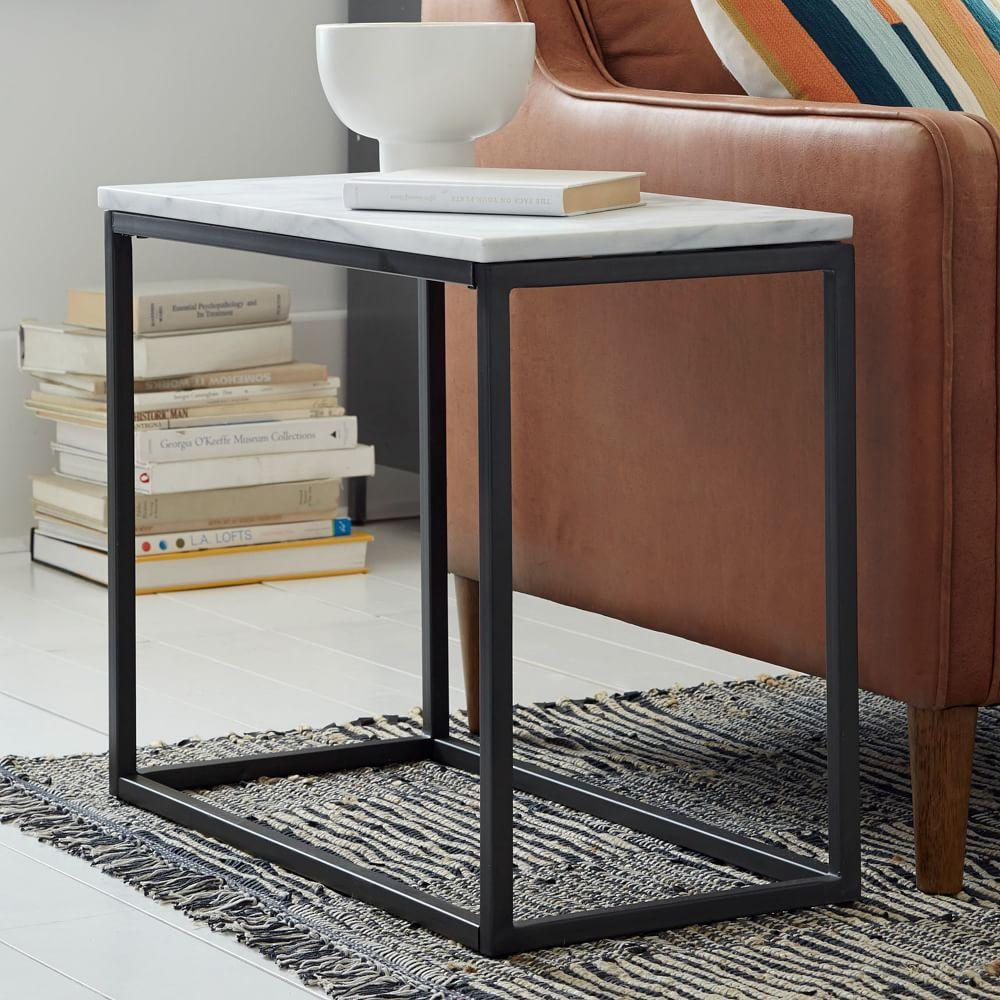 Box frame narrow side table marble west elm uk for Small tall end table