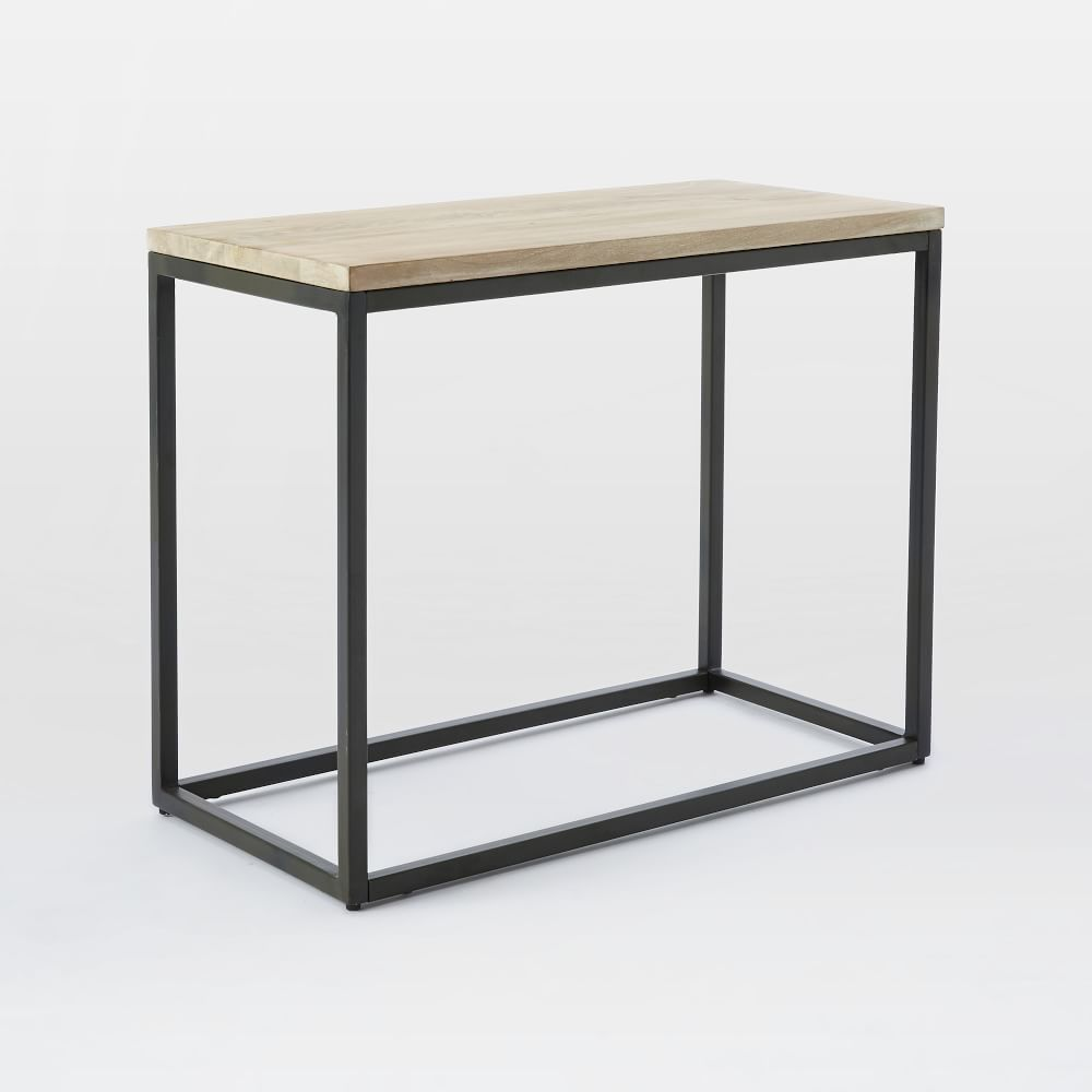 Box Frame Narrow Side Table Whitewashed Mango