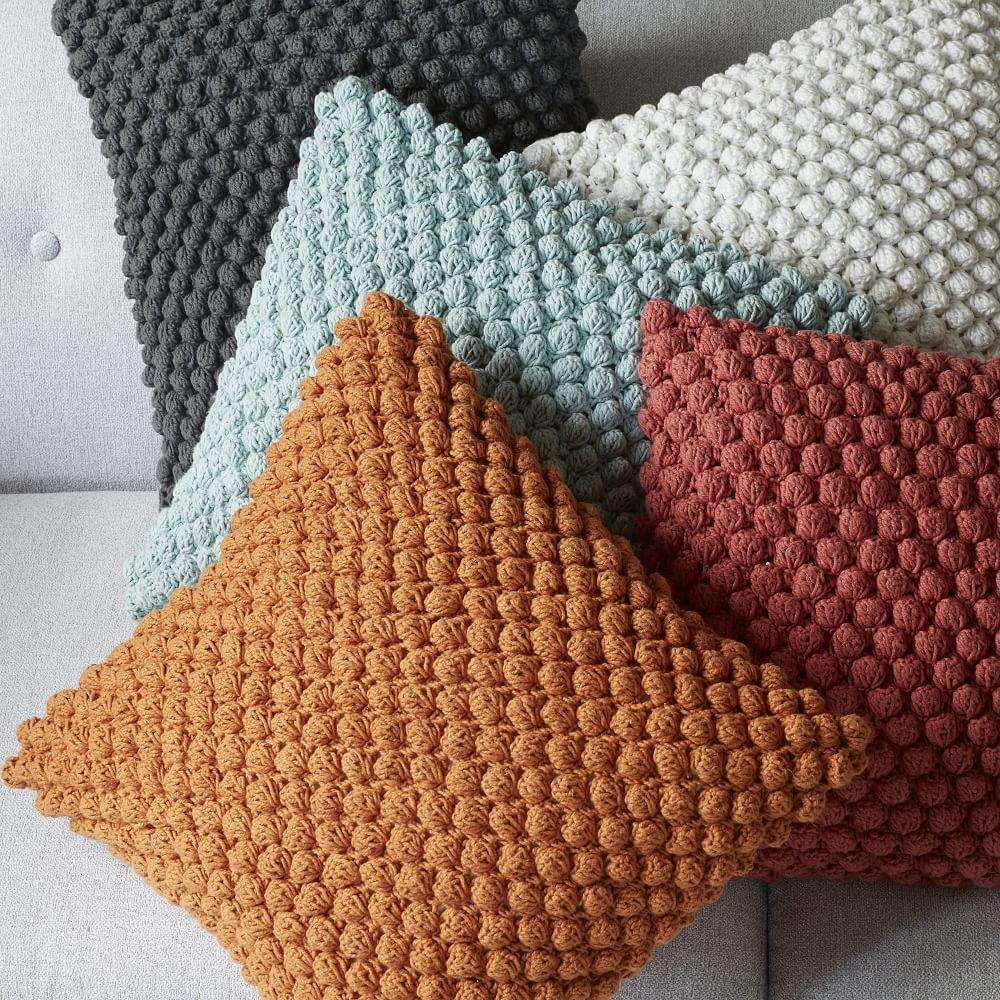Knitting Pattern For Snood : Bubble Knit Cushion Cover - Apricot