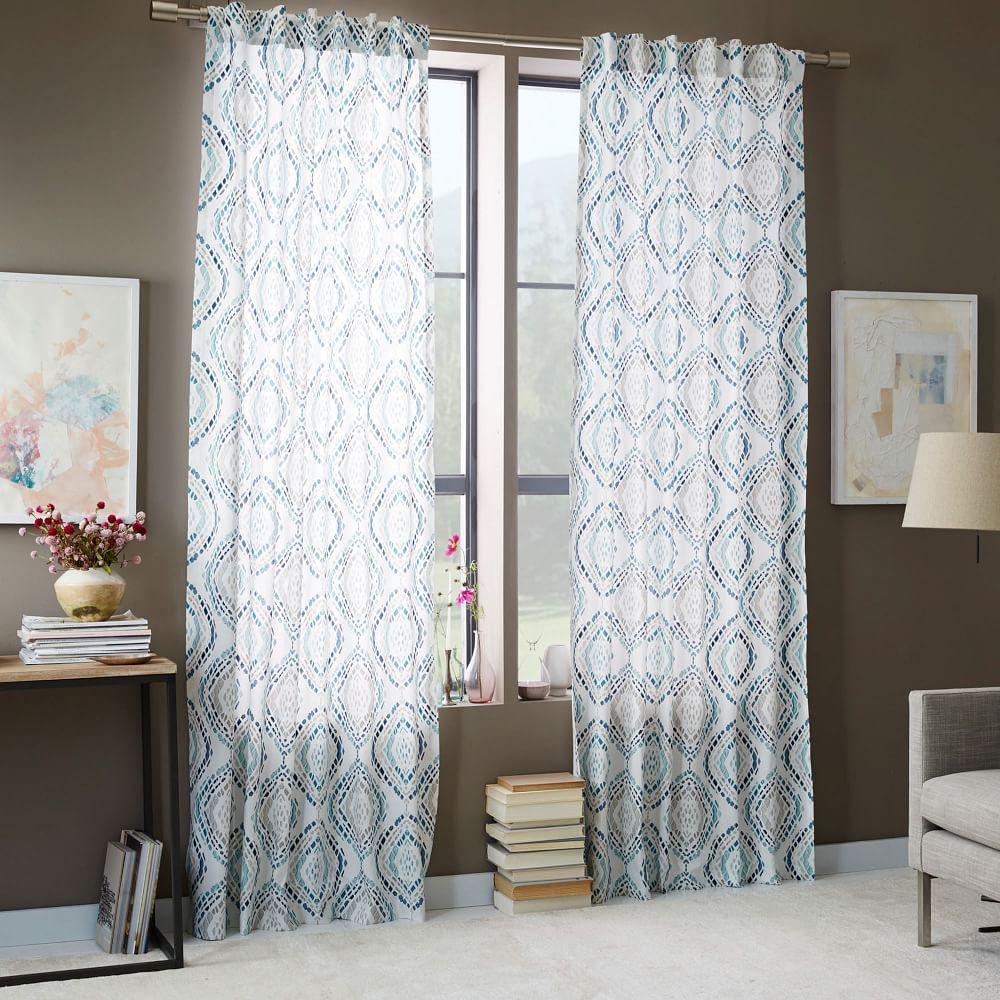 Cotton Canvas Mosaic Medallion Curtain Blue Lagoon