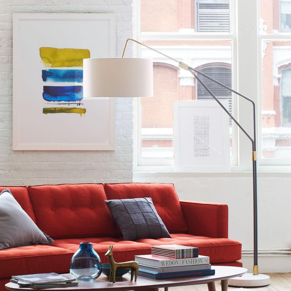 Mid century overarching floor lamp west elm uk mid century overarching floor lamp aloadofball Image collections
