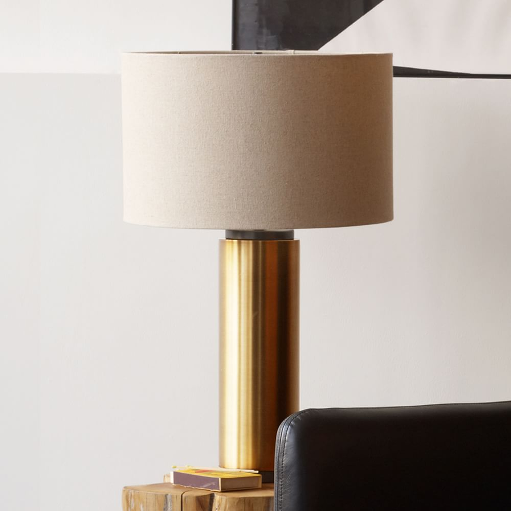 Pillar Table Lamp Antique Brass West Elm Uk
