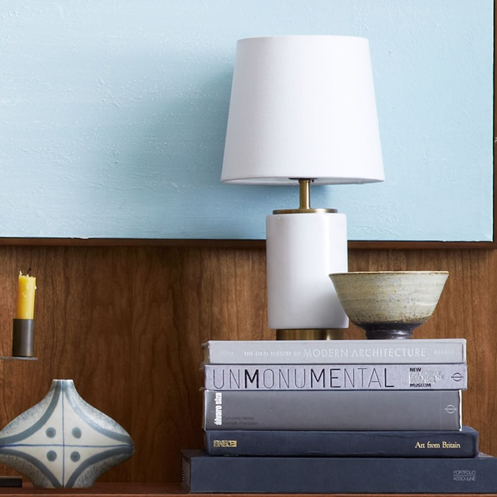 Small Pillar Table Lamp Marble West Elm Uk