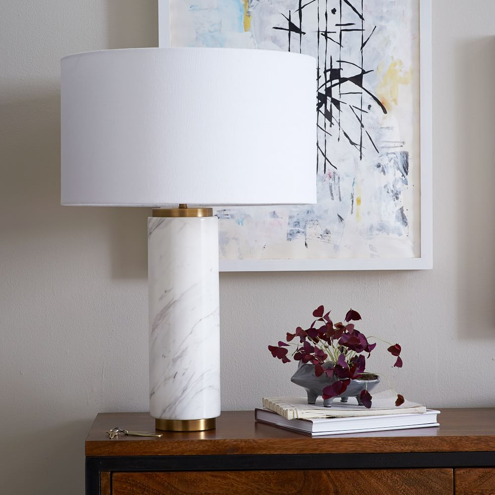 Pillar Table Lamp Marble West Elm Uk