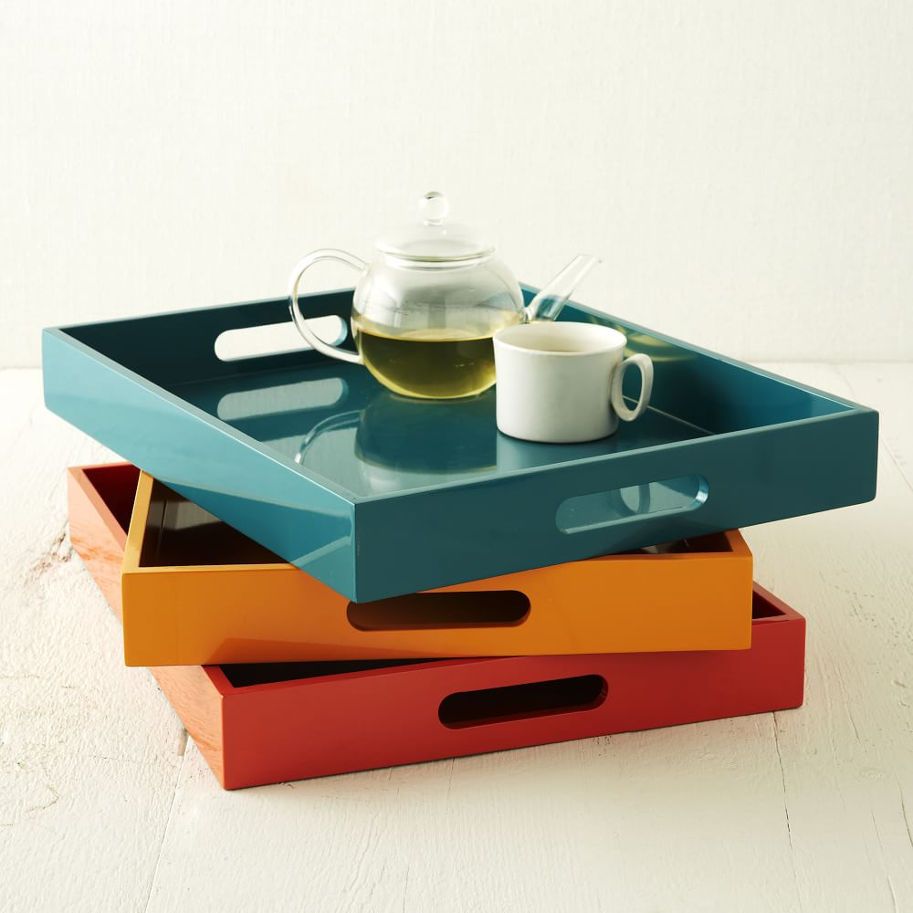 Small Rectangle Lacquer Trays West Elm Uk