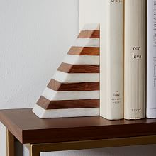 Striped Marble + Wood Bookend