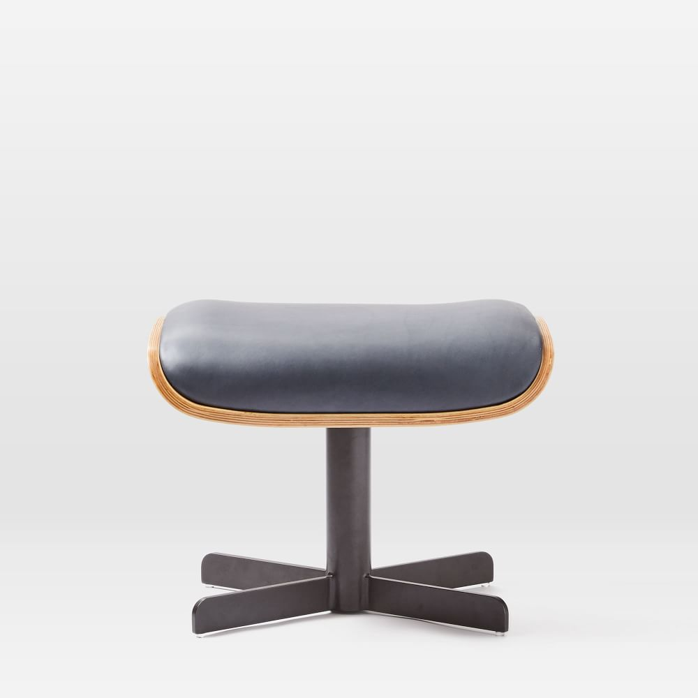 Malcolm Bentwood Leather Ottoman