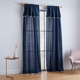 Belgian Flax Linen Piped Border Curtain - Midnight