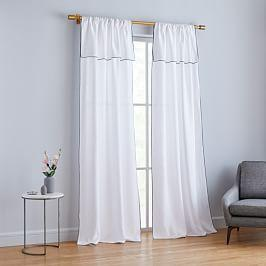 Belgian Flax Linen Piped Border Curtain - White