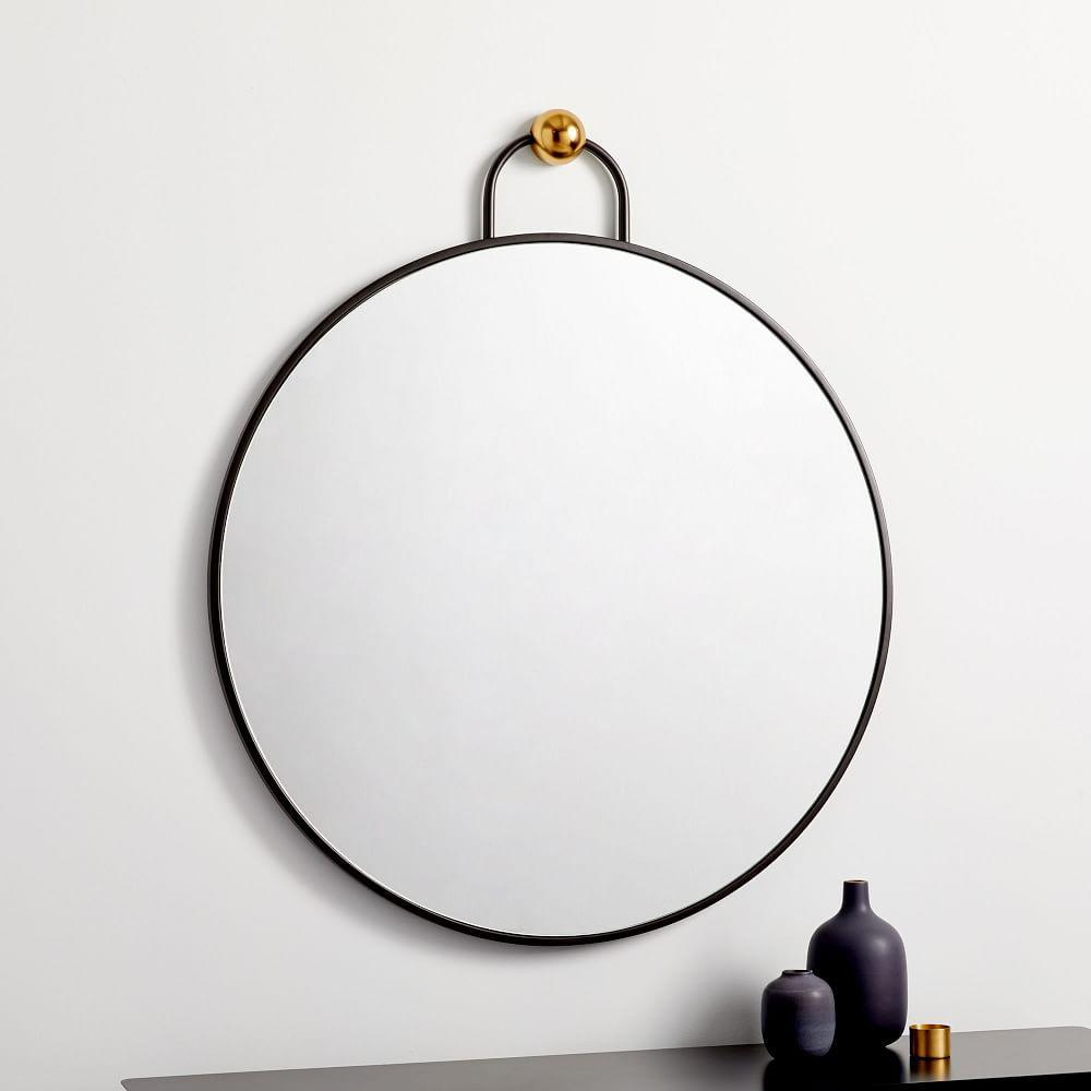 Geometric Hook Round Wall Mirror - 76 cm