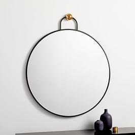Geometric Hook Round Wall Mirror - 76 cm