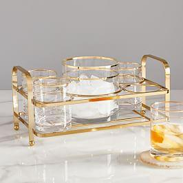 Gold Rimmed Drinkware Set