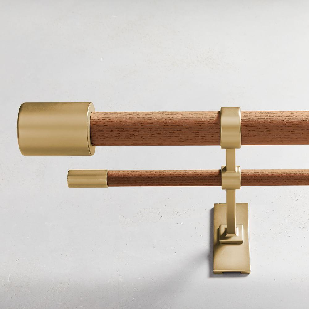 Mid-Century Wooden Double Curtain Rod - Wood/Brass