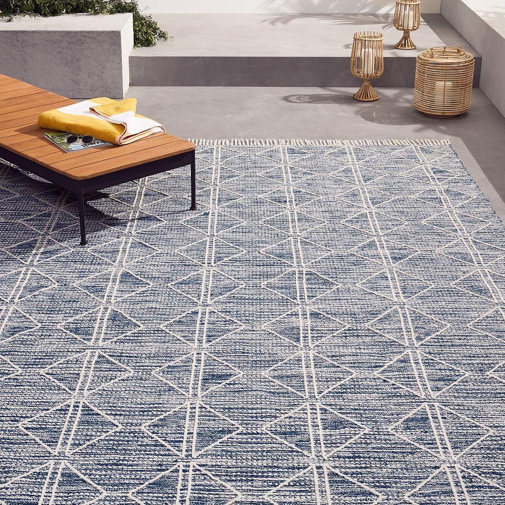 West Elm Outdoor Rug: Reflected Diamonds Indoor/Outdoor Rug - Iron