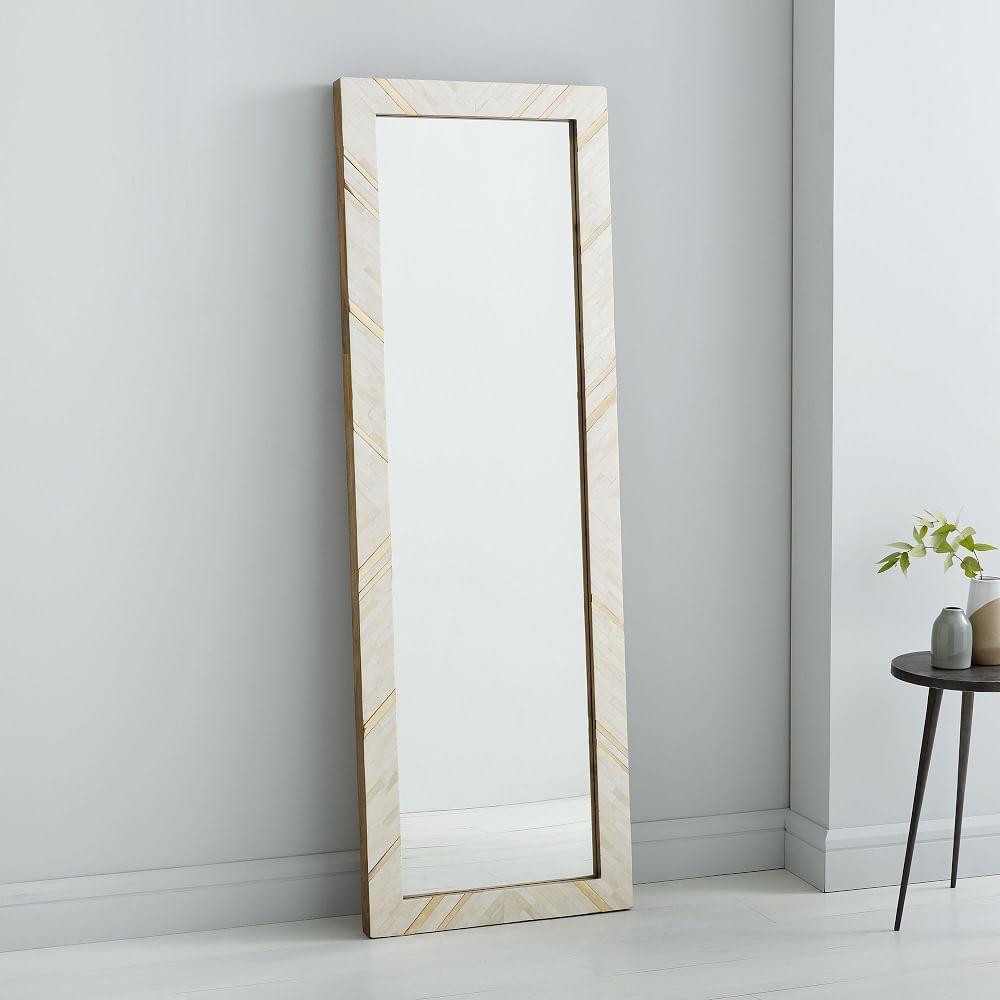 Brass + Bone Rays Floor Mirror