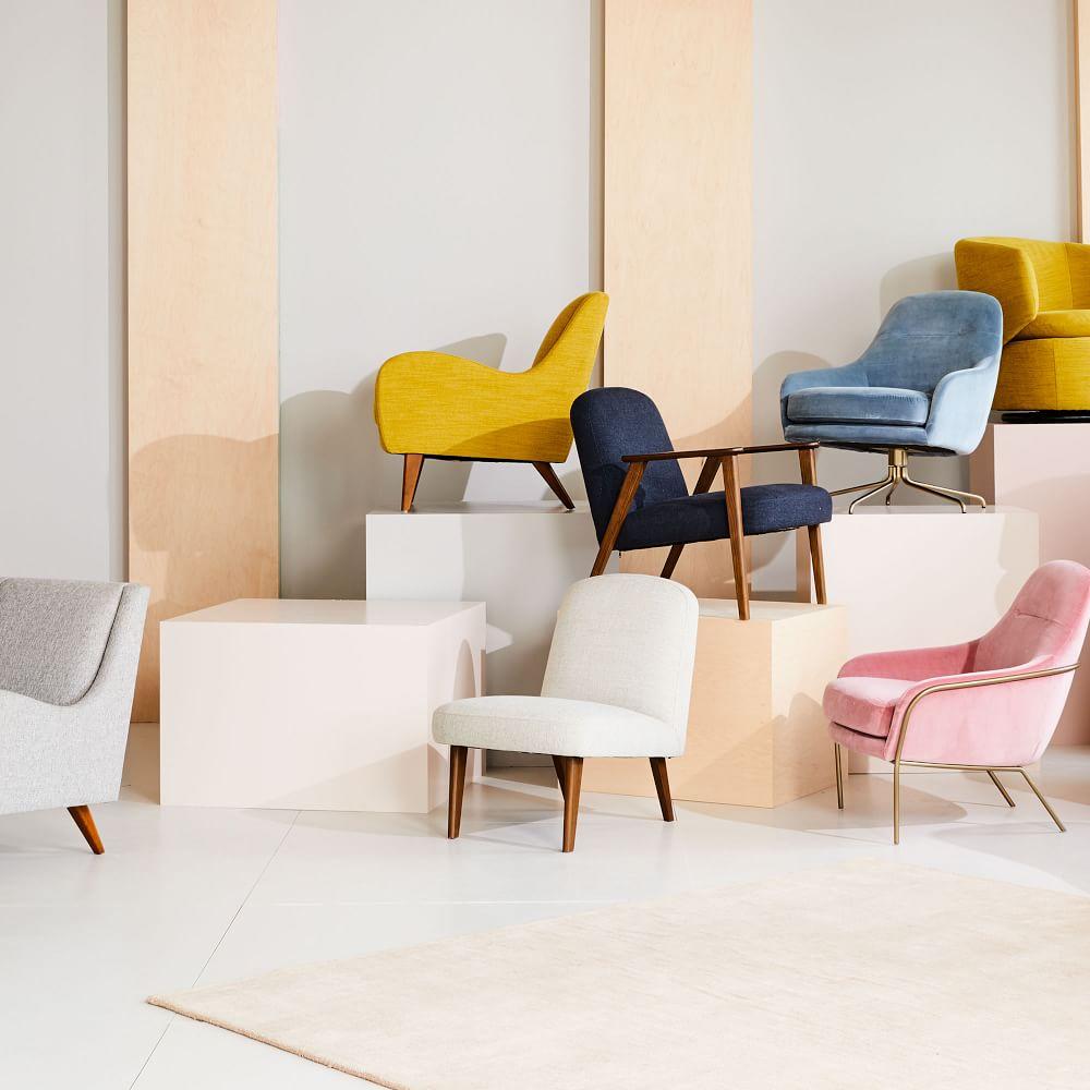 Janie Slipper Chair - Stone (Twill)