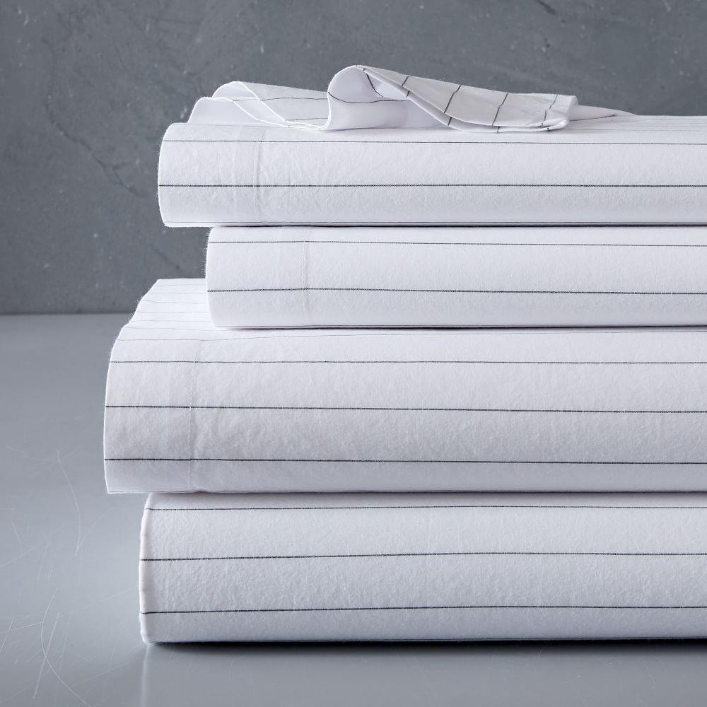 Organic Washed Cotton Stripe Sheets - Slate