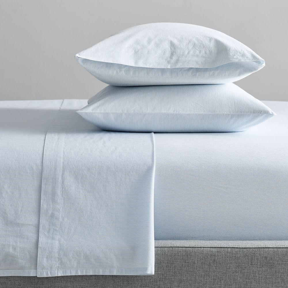 Organic Washed Cotton Stripe Sheets - Kyoto Blue