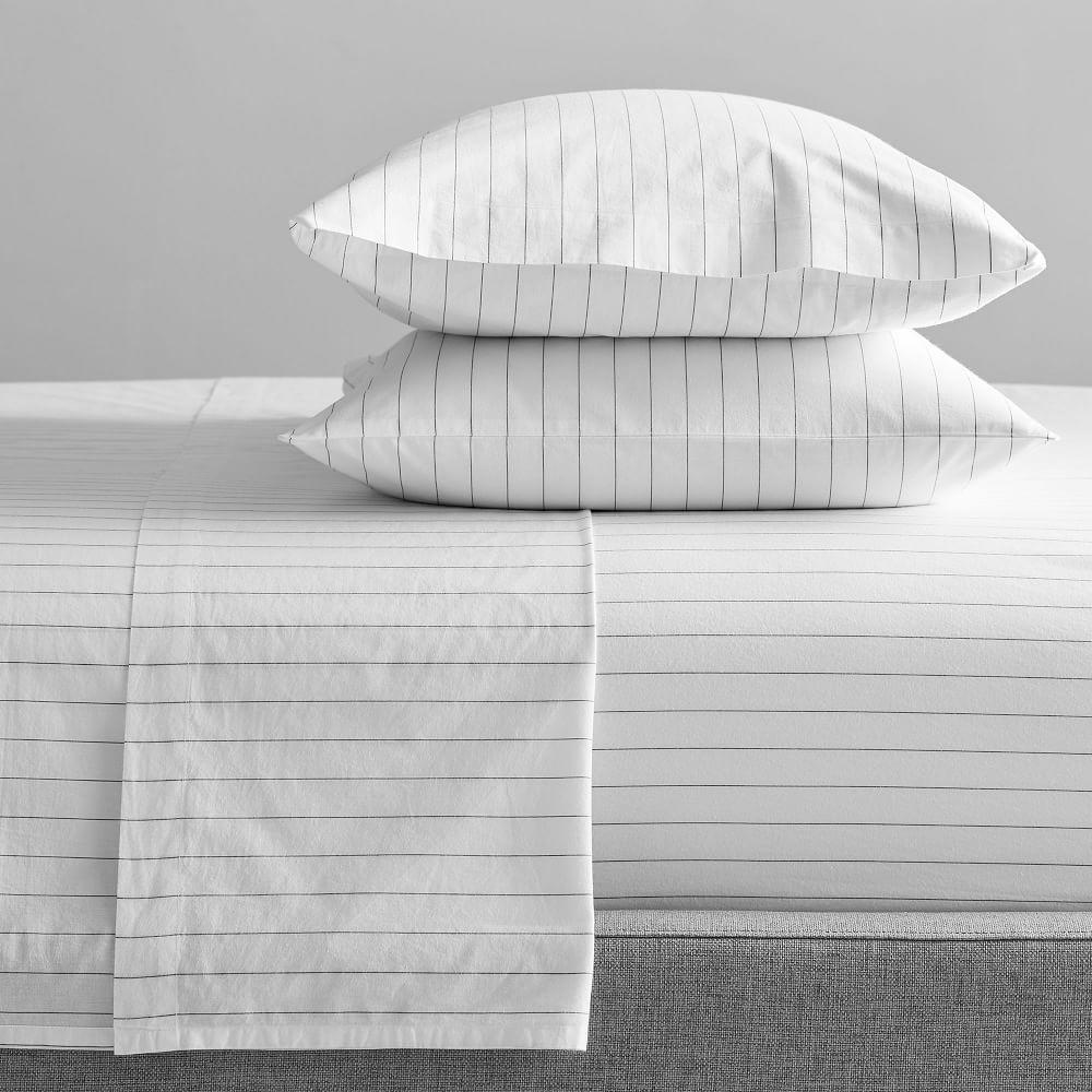 Organic Washed Cotton Stripe Sheets - Slate