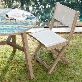 Portside Garden Textilene Folding Garden Bistro Chair - Weathered Grey