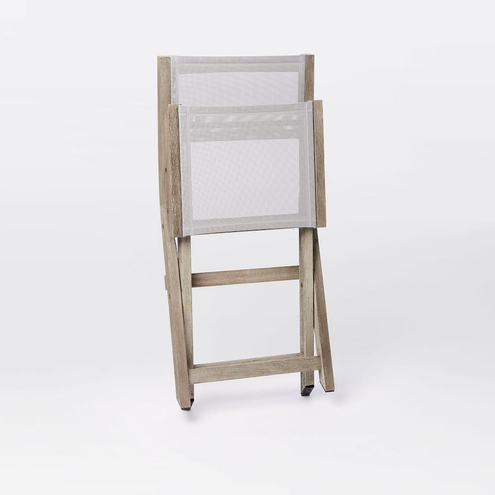 Portside Garden Textilene Folding Garden Bistro Chair - Weathered Grey