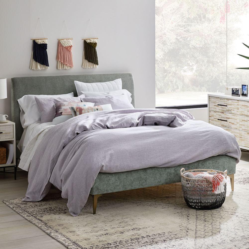 Andes Deco Upholstered Bed - Mineral Grey (Distressed Velvet)